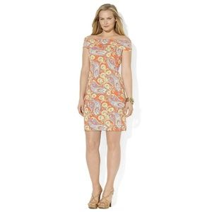 RALPH LAUREN Paisley Off-Shoulder Bandage Dress S